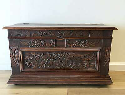 Antique French Coffer Chest Trunk Oak Rare Heavily Carved - RF220