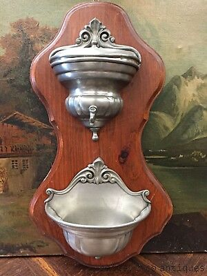 French Vintage Pewter Wall Fountain Ornate - QN596