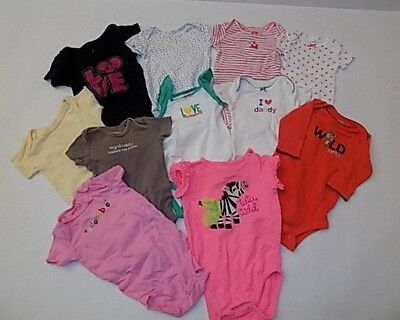 Girls Diaper Shirt Lot Size 0-6 Months / One-Pieces Girls Clothes Lot