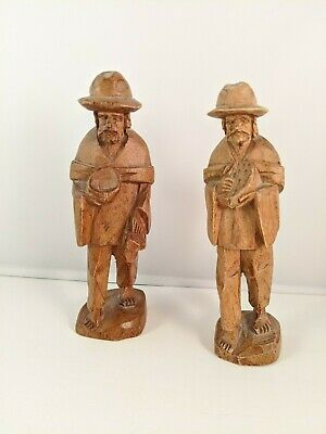 2 VINTAGE Hand Carved Wood Hobo Man Traveler  Figures