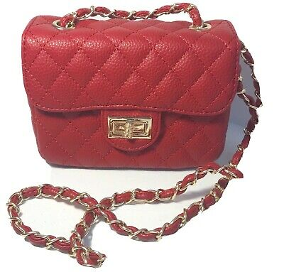 Pink Haley Crossbody Bag Quilted Red Box Small Faux Leather