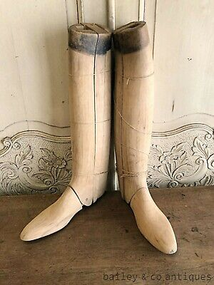 Pair Antique French Wooden Boot Embauchoirs Rare Great Display - RF558b