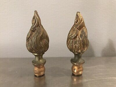 Antique Pair French Empire Bronze Flame Lamp Finals