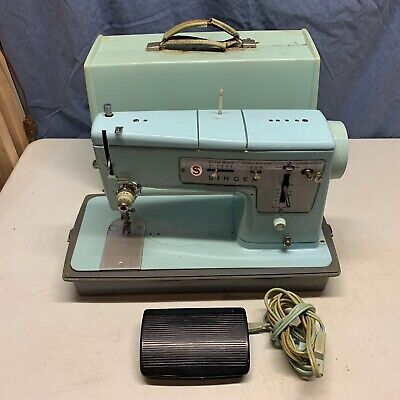 Vintage Singer Sewing Machine (Model 348) With Carrying Case For Parts/Repair