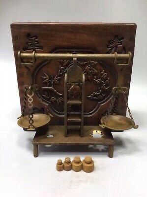 Chinese Old copper balance scale Weigh Home Decoration +Box