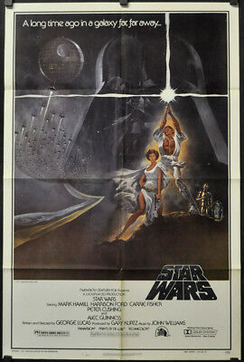 Star Wars 1977 Authentic 27X41 Movie Poster Mark Hamill Harrison Ford Sci-Fi