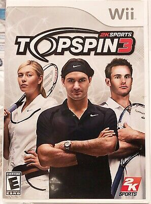 Top Spin 3 Nintendo Wii Tennis Video Game 2K Sports Disc, Case and Booklet