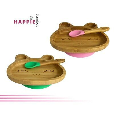 Natural Bamboo Frog Kids Suction Plate & Spoon - 6 Colours