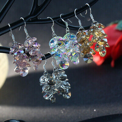 5 Colors Elegant Drop Earrings Women 925 Silver Jewelry Crystal A Pair/set