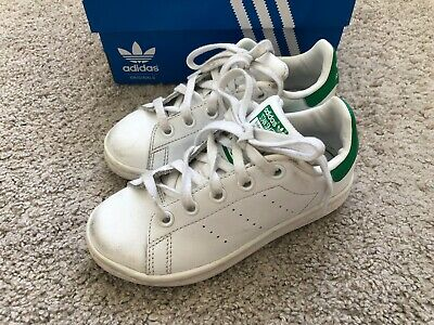 ADIDAS Stan Smith Green White Boys Girls Kids Sneaker Shoes 10.5 11