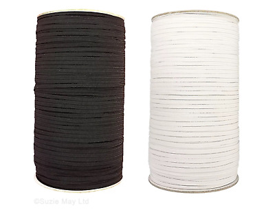 """4""""mm Flat Woven Corded Elastic For Dressmaking Cuff Tailoring Sewing Black White"""