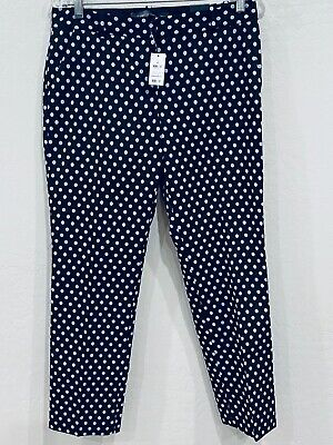 NWT The Limited Womens Drew Fit Ankle Crop Blue Purple Polka Dot Pants Size 4