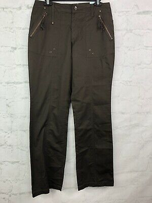 Tribal Pants womens 6 brown cargo sheeting pant cotton NEW NWT
