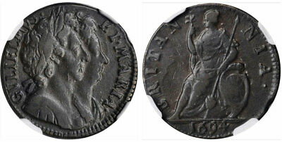 GREAT BRITAIN. England. William and Mary 1694 CU Farthing. NGC VF30BN S-3453