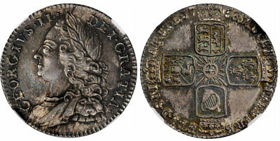 GR BRITAIN George II 1758 AR Sixpence. NGC MS64 S-3711 Ex Pittman Collection.