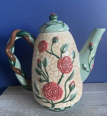 Flowers, Inc. Balloons • Hand Painted • Floral / Roses Ceramic Tea Pot • FIB