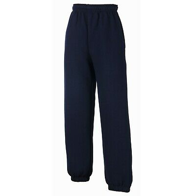 Kids Jogging Bottoms Fruit of the Loom Elasticated Cuff NAVY SIZE 12-13
