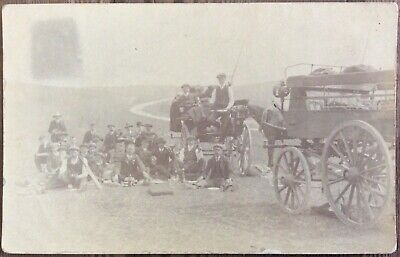 Antique Rppc Men Having A Picnic Day Out Winchester Hampshire Sent To Soldier