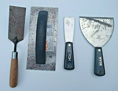 HDX HYDE Trowel Putty Knife Drywall Tools Stainless Steel Lot of 4