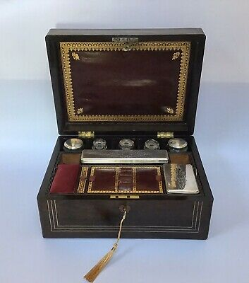 Antique Victorian Ladies Fitted Vanity Box, Jewellery Box Working Lock & Key