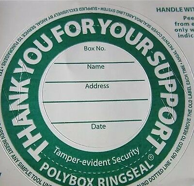 Green Color Security Label /  seals for Charity Collection Box Pack Of 12