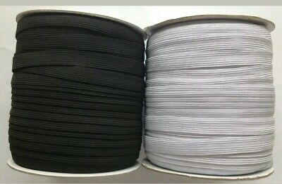 "12""mm Wide 1/2 inch Flat 16 Cord Elastic Black / White Quality Sewing Trimming"