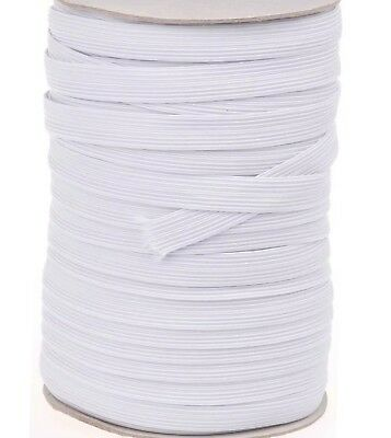 "12""mm (0.5"" inch ) 16 Cord  Flat Woven Quality Sewing Elastic White"