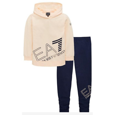 EA7 Big Logo OTH Top/Legging Junior Girls - Peach/Navy