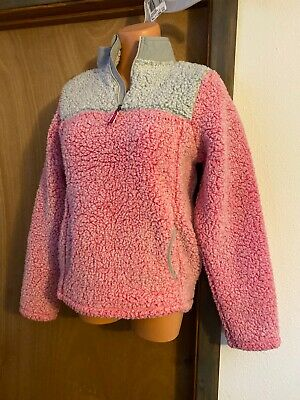 Youth XXL Girls Fleece Half Zip Pull Over, Pink, Warm Cozy