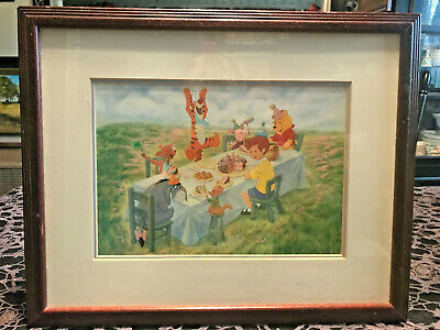 Vintage Framed Winnie The Pooh Print Birthday Party Celebration ! Beautiful!!!
