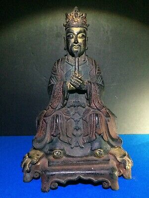 Antique Chinese Polychrome Bronze Figure of Wang Chen, Qing Dynasty