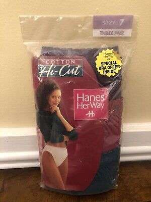Vintage 1997 Hanes Her Way Hi-cut Cotton Panties 3 Pack Size 7 New