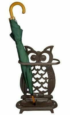 Vintage Style Owl Shaped Cast Iron Ornate Brolly Umbrella Walking Stick Stand