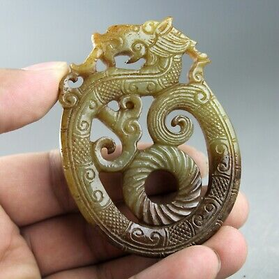 3'' China old Hetian jade Chinese hand-carved ancient dragon jade pendant 1261