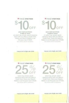 Lot Of 6 - Macy's Star Pass Rewards Coupons - $10 Off $30 - 25% Off - Exp May 10