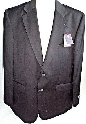 Stafford Size 42L Worsted Wool Mens Black Sport Coat Blazer 2 Metal Buttons New