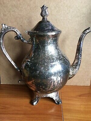 "Antique Vintage F.B.Rogers 1883 Silverplate Coffee / Teapot 10"" tall"