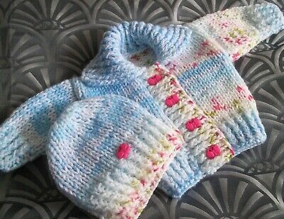 hand knitted baby girls cerise buttons jacket/hat chunky set newborn/reborn