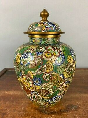 19th/20th C. Chinese Cloisonné Enameled Covered Baluster Jar and Cover