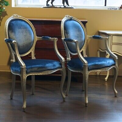 Pair of Mahogany Louis Carved Cameo Back Chairs silver leaf blue velvet