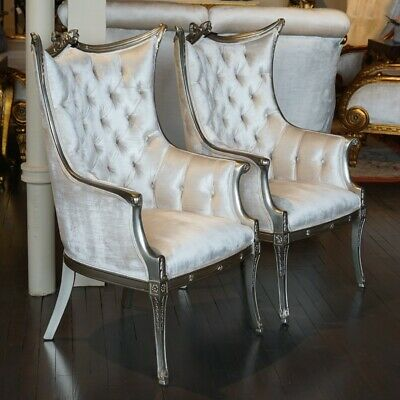 Beautiful pair of fireside Arm Chairs in antiqued silver leaf white velvet
