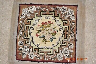 Victorian antique beadwork, tapestry needlepoint petit point panel floral geomet