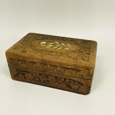 Vintage Indian Jewelry Trinket Wooden Box Hand Carved Wood Inlay Sheesham
