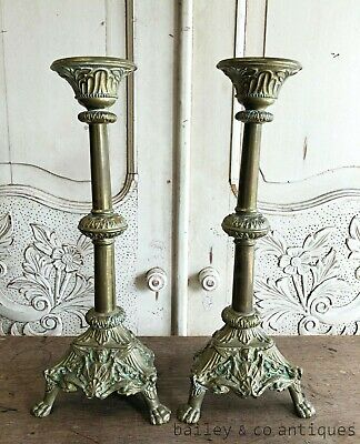 Pair Antique French Brass Candlesticks Candle Holders Bougeoirs - RF525