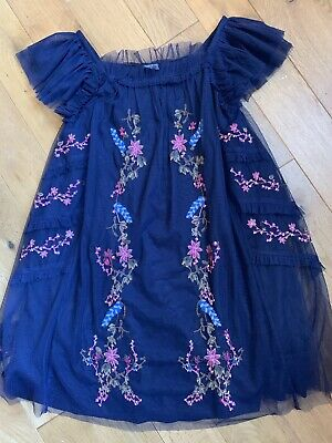 Girls Next Navy Blue embroidered party dress age 8 EU 128 cm