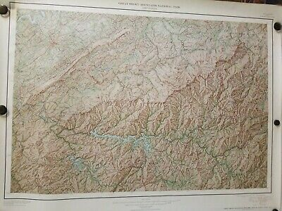 """1949 Great Smoky Mountains Topographical Map Geological Survey US Interior 36"""""""