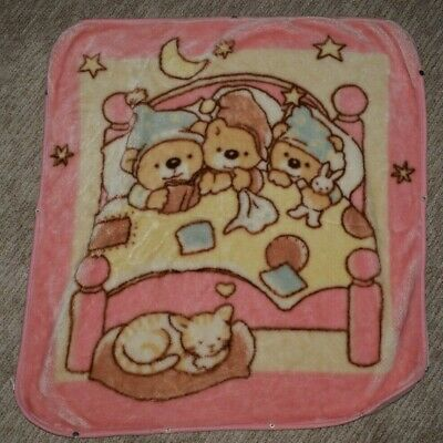 Vintage Three Bears Baby Bunting Blanket with Zips and Snaps