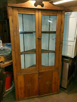 Antique Primitive Corner Cabinet - Very Nice - Has Old Glass