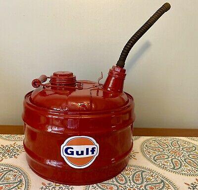 Metal Gas Can GP&F Milwaukee Wisconsin Bright Red w/Spout Vintage