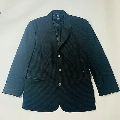 Claiborne Mens Sport Coat Size 42R Black Pinstripe Poly Rayon Fully Lined